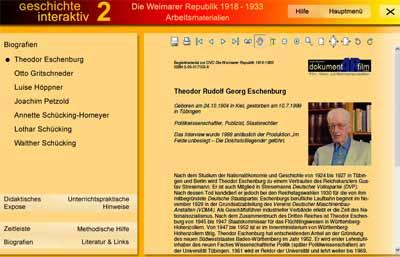 Screenshot: Zusatzmaterial der DVD 'Weimarer Republik' - Zeitzeugen