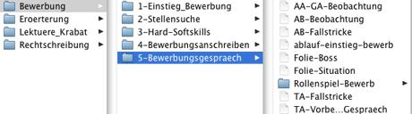 Screenshot: Aufteilung der Unterrichtsmaterialien nach thematischen Blöcken