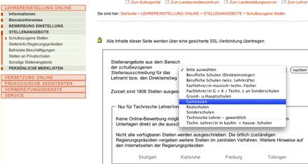 Vorschaubild: Screenshot der Lehrereinstellungsseite lehrereinstellung-bw.de, Bereich 'Schulbezogene Stellen'