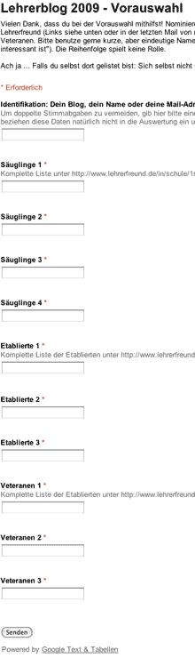 Screenshot des Formulars zur Vornominierung, Ausschnitt