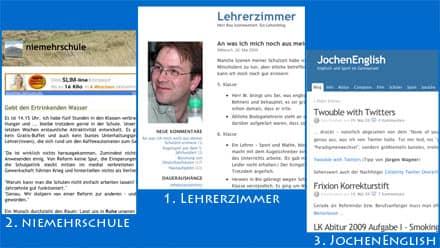 Die drei Gewinner der Lehrerblog-2009-Abstimmung, Siegertreppchen