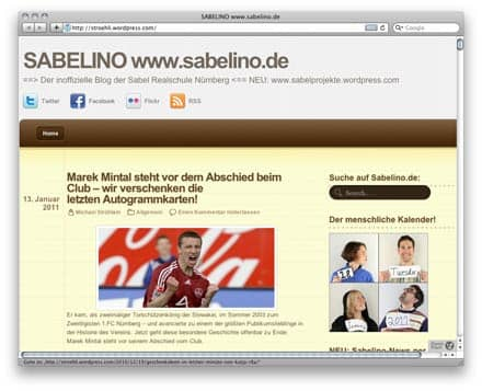 Screenshot: Blog SABELINO, Januar 2011