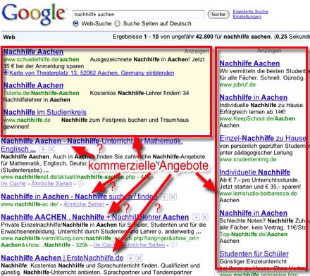 Screenshot: Google-Suche nach 'nachhilfe aachen' (04.05.2009)