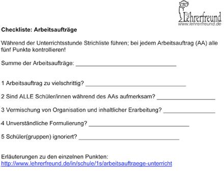 Vorschaubild: Checkliste Arbeitsaufträge