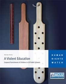 Buchumschlag des HRW-Reports 'A Violent Education', auf dem einige Paddel (=Prügelgerägte) abgebildet sind