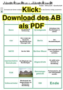 Vorschaubild: Arbeitsblatt zu Bundestagswahlen und Bundestag, Domino-Spiel; Klick zum Download als PDF
