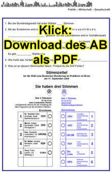 Vorschaubild: Arbeitsblatt zu den Bundestagswahlen - Lückentext und Fehlersuche auf Stimmzettel; Klick zum Download als PDF