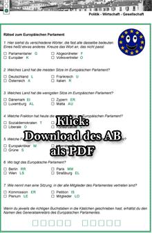 Arbeitsblatt: Rätsel zum Europäischen Parlament (Vorschaubild, Klick zum Download als PDF)