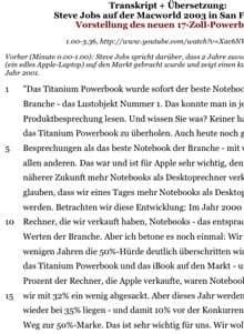Ausschnitt aus Arbeitsblatt 'Transkription - Macworld-Keynote von Steve Jobs