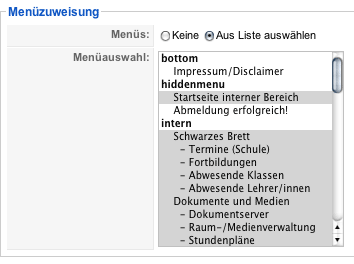 Screenshot: Dem Intranet-Template die Menüeinträge des Intranets zuweisen