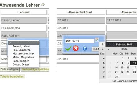Screenshot: Joomla-Komponente 'Event Table Edit' im Einsatz im Schulintranet (bei 'Abwesende Lehrer')