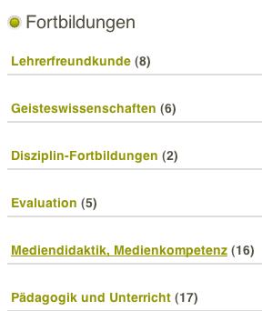 Fortbildung - geordnet nach Kategorien (Fächern)