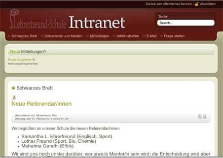 Screenshot: Schwarzes Brett