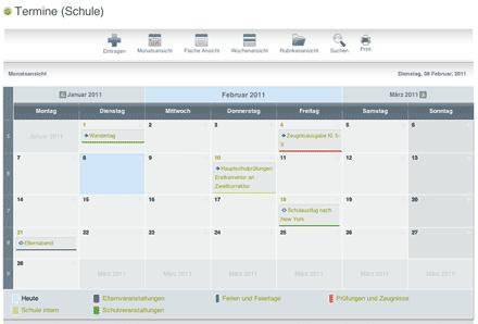 Screenshot: Kalender, Terminansicht