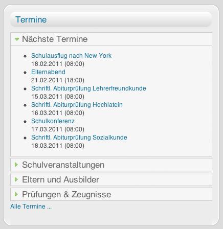 Screenshot: JCal-Modul - nächste Termine auf Startseite