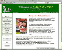 Screenshot der Website 'Kinder in Gefahr' - eine Aktion der DVCK e.V.
