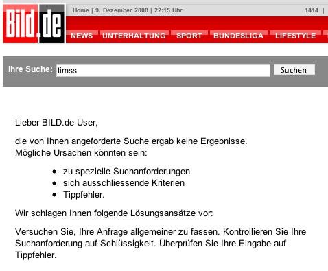Screenshot: Suchergebnisseite auf BILD.de bei der Suchanfrage 'timss'