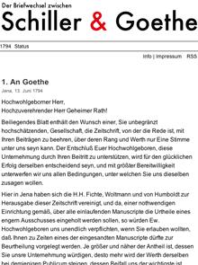 Screenshot des Blogs 'Briefwechsel zwischen Schiller & Goethe