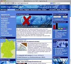 Screenshot: wahl.tagesschau.de zur Bundestagswahl 2005