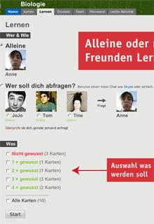 Screenshot (Ausschnitt): Übersichtsseite einer Lerngruppe auf Cobocards.de