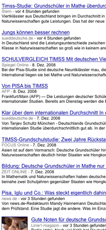 Google-News-Suche nach 'TIMSS' (09.12.2008), Screenshot (Ausschnitt)