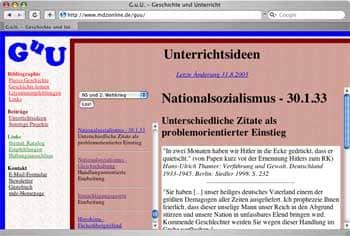 Vorschau Website Geschichte und Unterricht