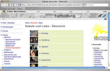 Vorschau: Unterrichtseinheit Schiller: Kabale und Liebe