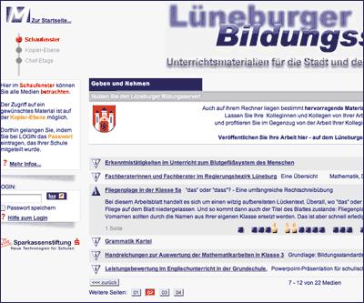 Screenshot: Lüneburger Bildungsserver