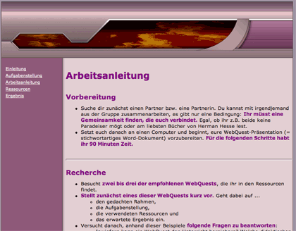 Webquest über Webquests: Homepage