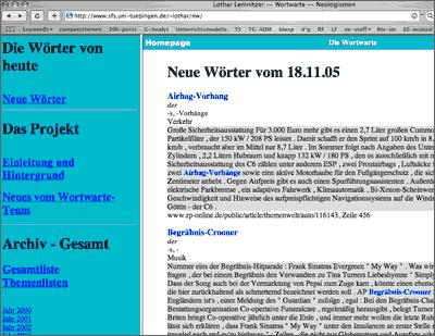 Screenshot der Homepage der Wortwarte - Neologismen und Wortneuschöpfungen
