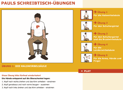 Screenshot: Pauls Schreibtischuebungen fuer Schultern und Ruecken