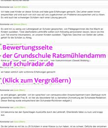 Ausschnitt: Bewertung der Grundschule Ratsmühlendamm auf schulradar.de, Klick zum Vergrößern