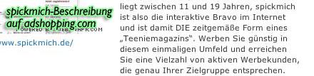 Screenshot: Präsentation von spickmich.de auf AdShopping