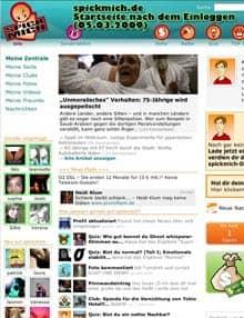 Vorschau: Startseite von Spickmich nach dem Einloggen, 05.03.2009