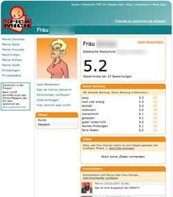 Beispiel: Bewertungsseite bei spickmich.de