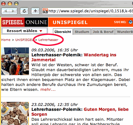 Spiegel-Online-Kategorie 'Lehrerhasser' Screenshot