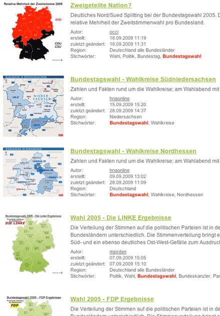 Screenshot: Karten zu Bundestagswahlen bei StepMap