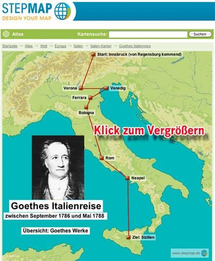 Karte mit den Stationen von Goethes Italienreise (Vorschaubild, Klick zum Vergrößern)