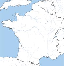 Landkarte von Frankreich, hervorgehobene Grenzen