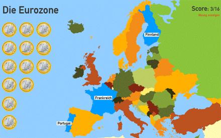 Screenshot des Eurozonen-Quiz' von Toporopa (Ausschnitt)