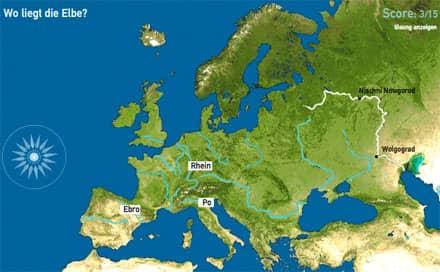 Screenshot des 'Flüsse in Europa'-Quiz' von Toporopa (Ausschnitt)