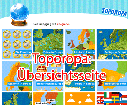 Screenshot der Übersichtsseite von Toporopa (Ausschnitt)