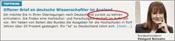 Ausschnitt von bmbf.de, gesehen 16.10.2005