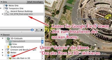Screenshot Google Earth: Installation des alten Roms über die Google-Earth-Oberfläche