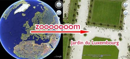 zwei Screenshots von Google Earth (Erdkugel; Paris, Jardin du Luxembourg)