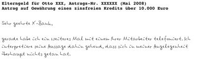 Leseprobe umgewandelte Handschrift als Computerschrift - Briefausschnitt (Klick zum Vergrößern)
