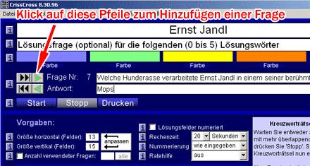 Screenshot des Kreuzworträtselgenerators 'CrissCross'; Markierungen an den Pfeilen, mit denen Fragen zum Kreuzworträtsel hinzugefügt werden können.