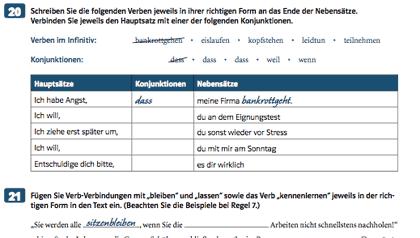 Ausschnitt aus den Arbeitsblaettern zur Zusammenschreibung vom Klett-Verlag