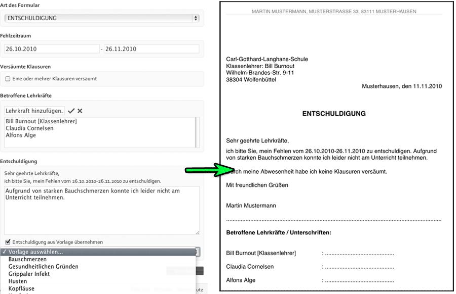 MyExcuse.de: Entschuldigung (für versäumten Unterricht) online ...