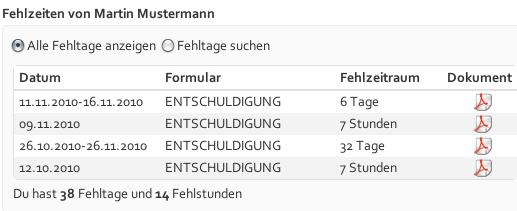 Liste der Fehlzeiten / Entschuldigungsarchiv (Screenshot von MyExcuse.de